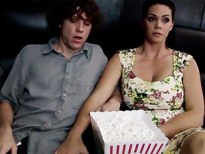 Horny milf transform shy stepson's dick in cinema