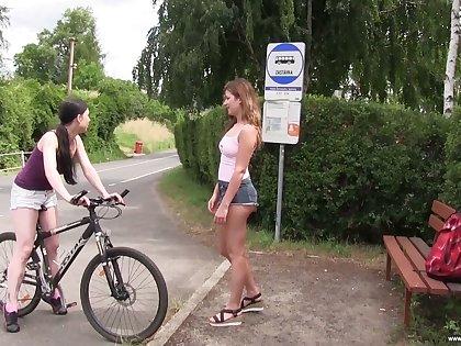 Svelte really randy Lexi Purl turns bike fun into lesbian sex into public notice