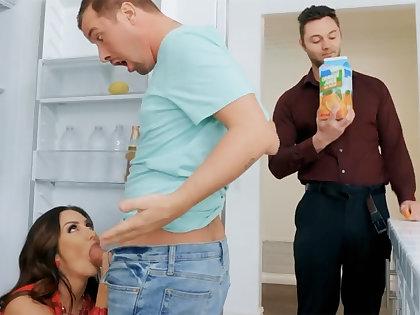 Wife's big tits seduced nanny prevalent fuck hardcore