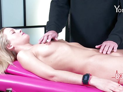 Petite chick Sicilia Y pleasured by skillful arms of a massage expert