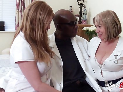 Twosome chubby head nurses bang one black sponger and eat his cum greedily