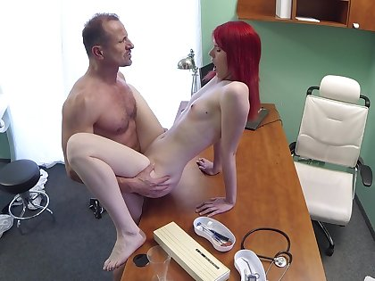 Slim cutie pie rides her doctor after he bust her pussy right