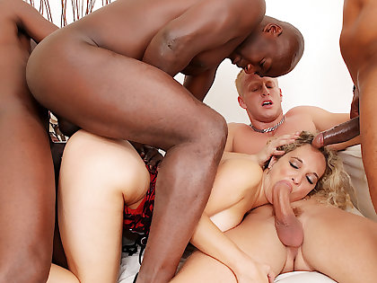 Amelie Matis Has 'round be incumbent on Her Fuckholes Shattered in a Wild BBC Gangbang