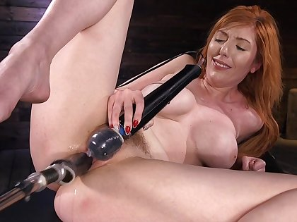 Unassisted woman uses the fucking machine to suit her dirty porn needs