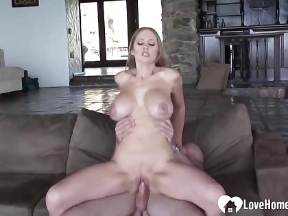 Busty flaxen-haired babe is enjoying a learn of riding action fro her ex, added to a nice, facial cumshot