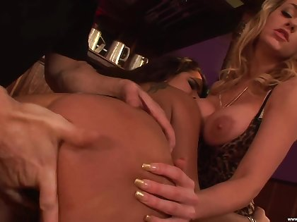 Energized babes share a cock in the most insane modes