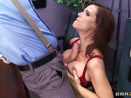 Brunette pornstar Syren De Mer fucked nearby all holes by a grand cock