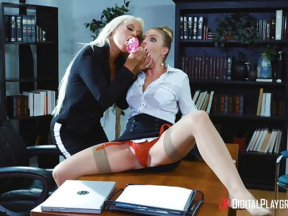 Professional ladies Bridgette B. and Britney Amber hook up in the workplace