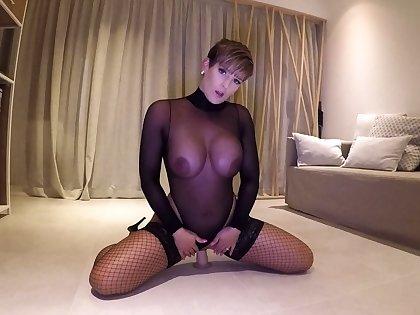 Porn brunette in nylon stockings