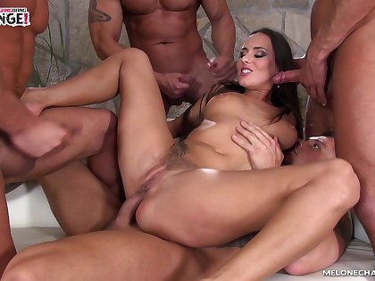 The one and only tatted up gangbang queen Mea Melone loves DP