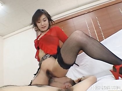 Passionate fucking with sexy Ruri Anno in fishnet stockings