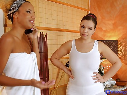 Ebony woman is intrigued all round a meticulous oral play with the busty masseuse