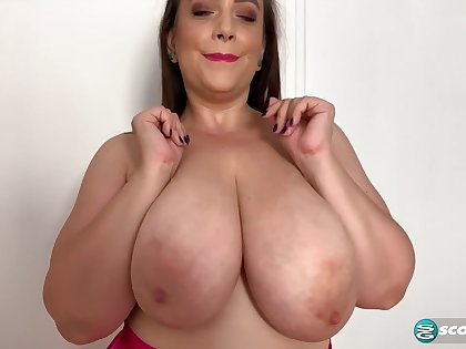 Sweet BBW mom plays in all directions her monster boobs topless - solo