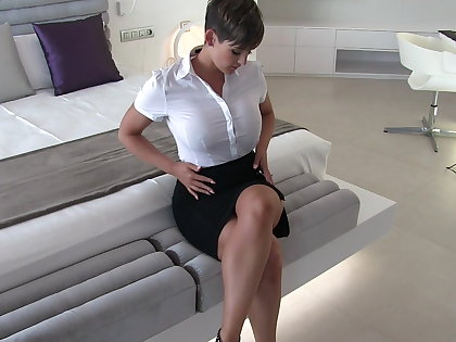 Sexy secretary wet clothes musing